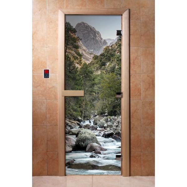 Дверь для бани с фотопечатью DoorWood А094
