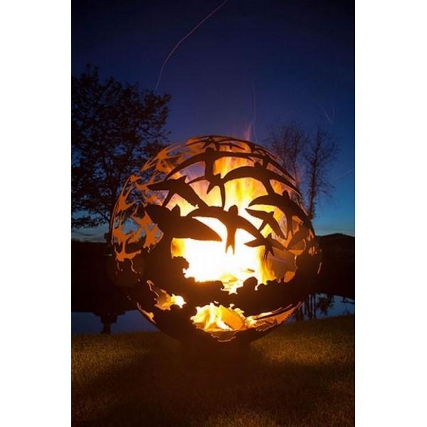 Кованая костровая чаша для огня с функцией мангала Барбекю Птицы
