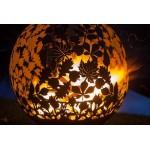 Кованая садовая чаша для костра с функцией мангала Барбекю Листья INOX
