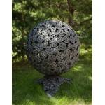 Кованная сфера для огня с уличным  мангалом Барбекю Цветы-305