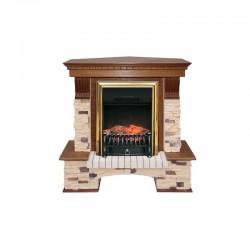 Каминокомплект Royal Flame Pierre Luxe угловой сланец/сланец белый с очагами Majestic FX/Fobos FX