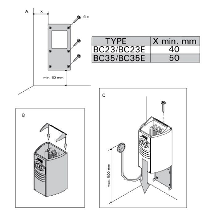 Схема установки Harvia Vega Compact