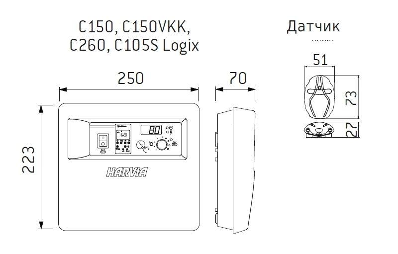 Схема подключения Harvia C150VKK