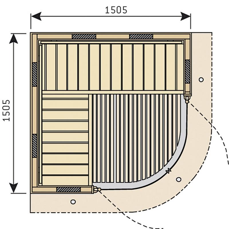 Чертеж инфракрасной кабины Harvia Rondium SG1515KL