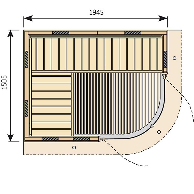 Чертеж инфракрасной кабины Harvia Rondium SG2015KL