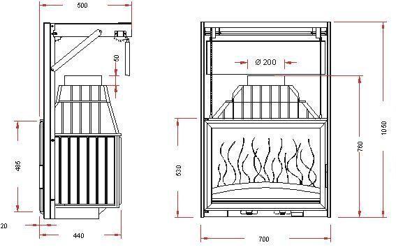 Конструкция топки Invicta 700 Grande Vision c подьемной дверцей