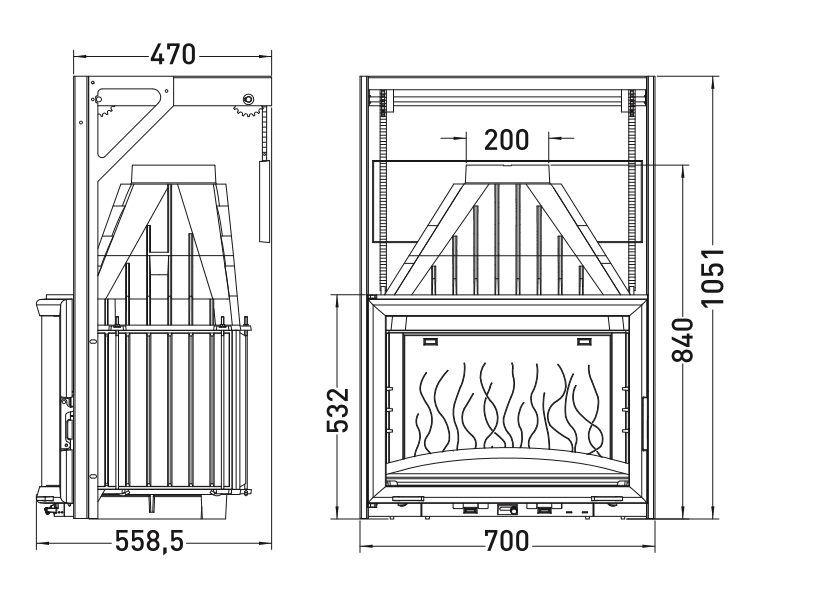 Конструкция топки Invicta 700 Panoramique с подъемной дверцей