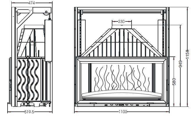 Конструкция топки Invicta 1100 Grande Vision с подъемной дверцей