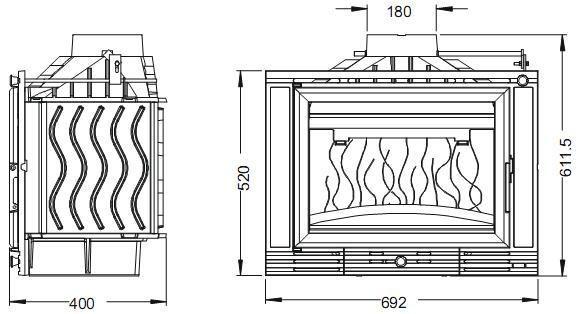 Конструкция топки Invicta 700 Minos с заслонкой