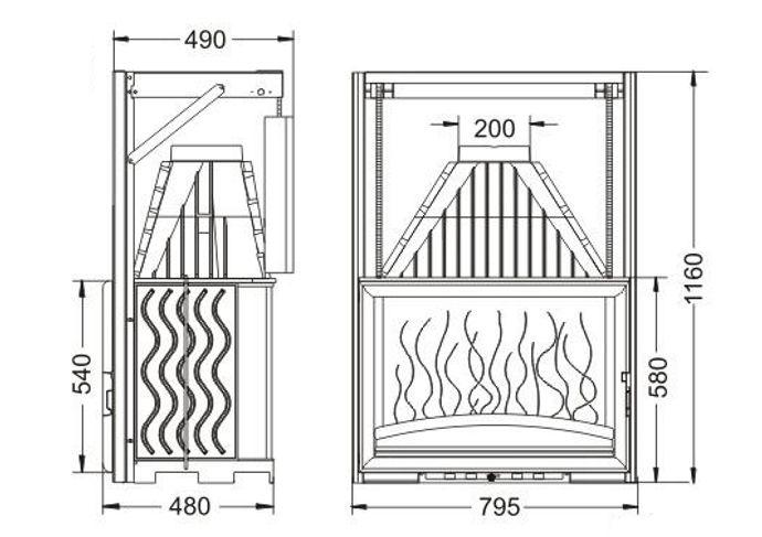 Конструкция топки Invicta 800 Grande Vision с подъемной дверцей
