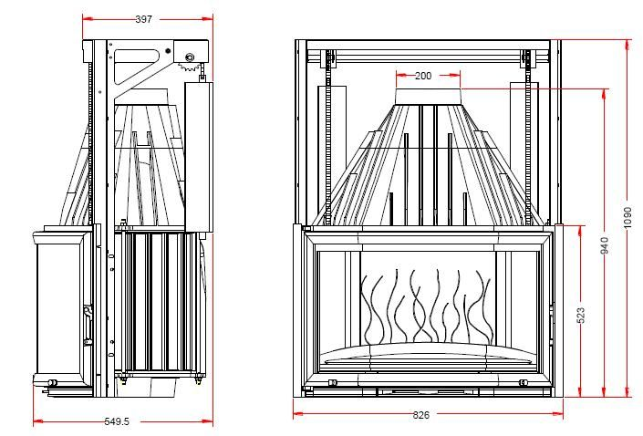 Конструкция топки Invicta 850 Prismatique с подъемной дверцей