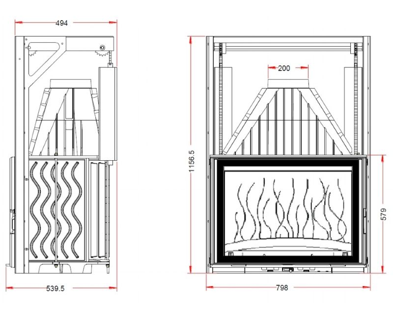 Конструкция топки Invicta 800 Grand Angle c подьемной дверцей