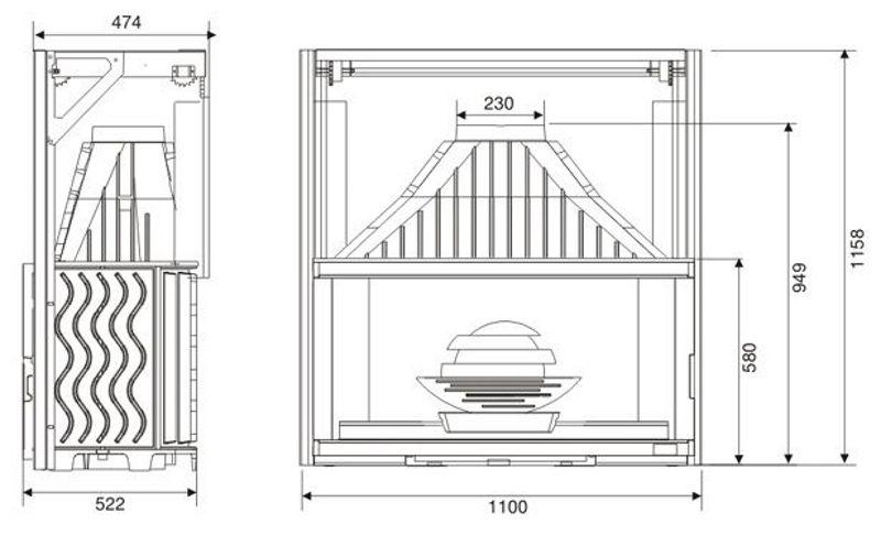 Конструкция топки Laudel 1100 Grande Vision с подъемной дверцей