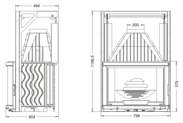 Конструкция топки Laudel 800 Panorama c подъемной дверцей