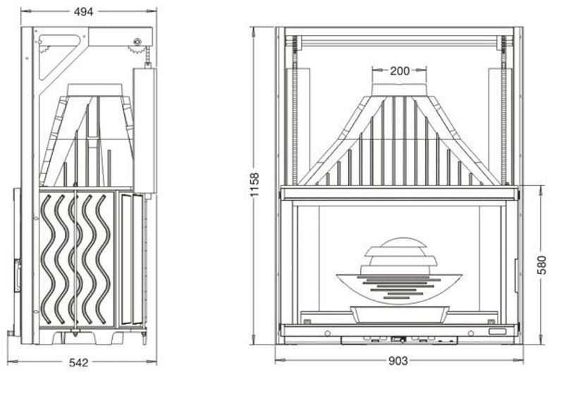 Конструкция топки Laudel 900 Grande Vision с подъемной дверцей